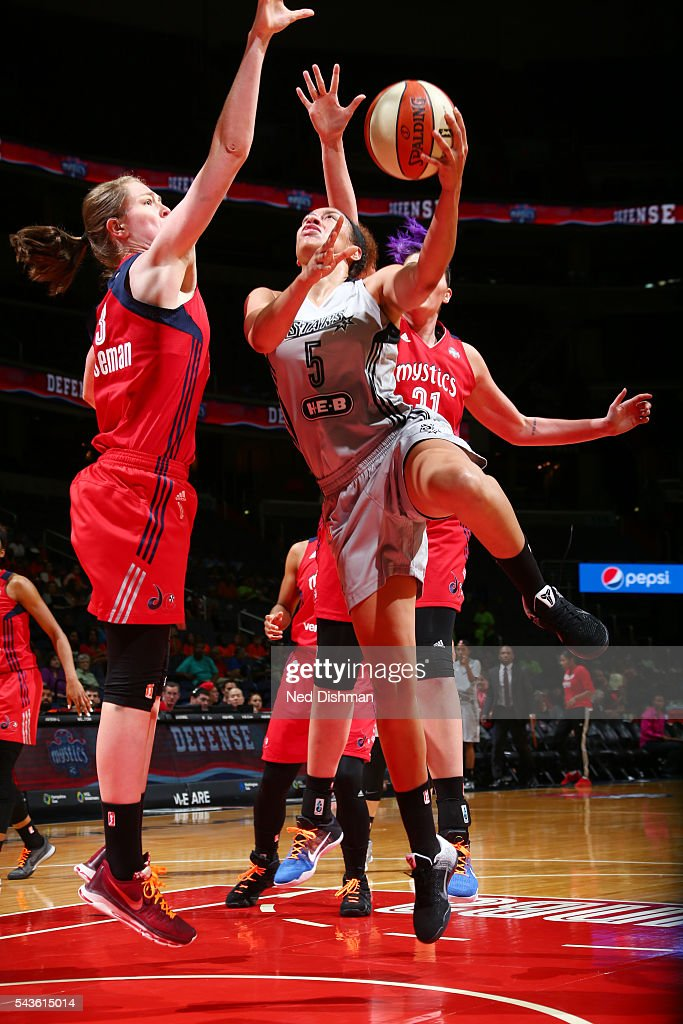 Dearica Hamby #5 of the San Antonio Stars goes for a layup against the Washington Mystics on June 29, 2016 at the Verizon Center in Washington, DC.