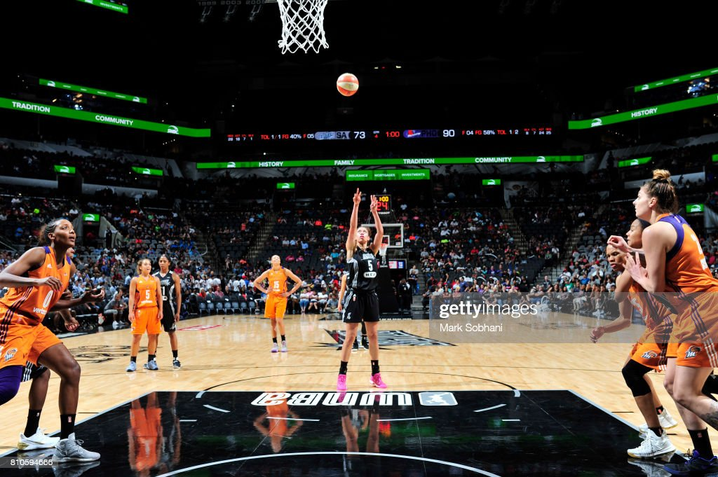 Dearica Hamby #5 of the San Antonio Stars shoots a free throw against the Phoenix Mercury on July 7, 2017 at the AT&T Center in San Antonio, Texas.