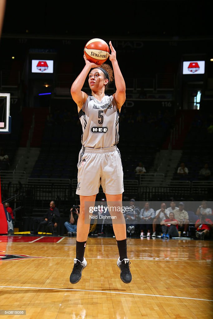 Dearica Hamby #5 of the San Antonio Stars shoots the ball against the Washington Mystics on June 29, 2016 at the Verizon Center in Washington, DC.