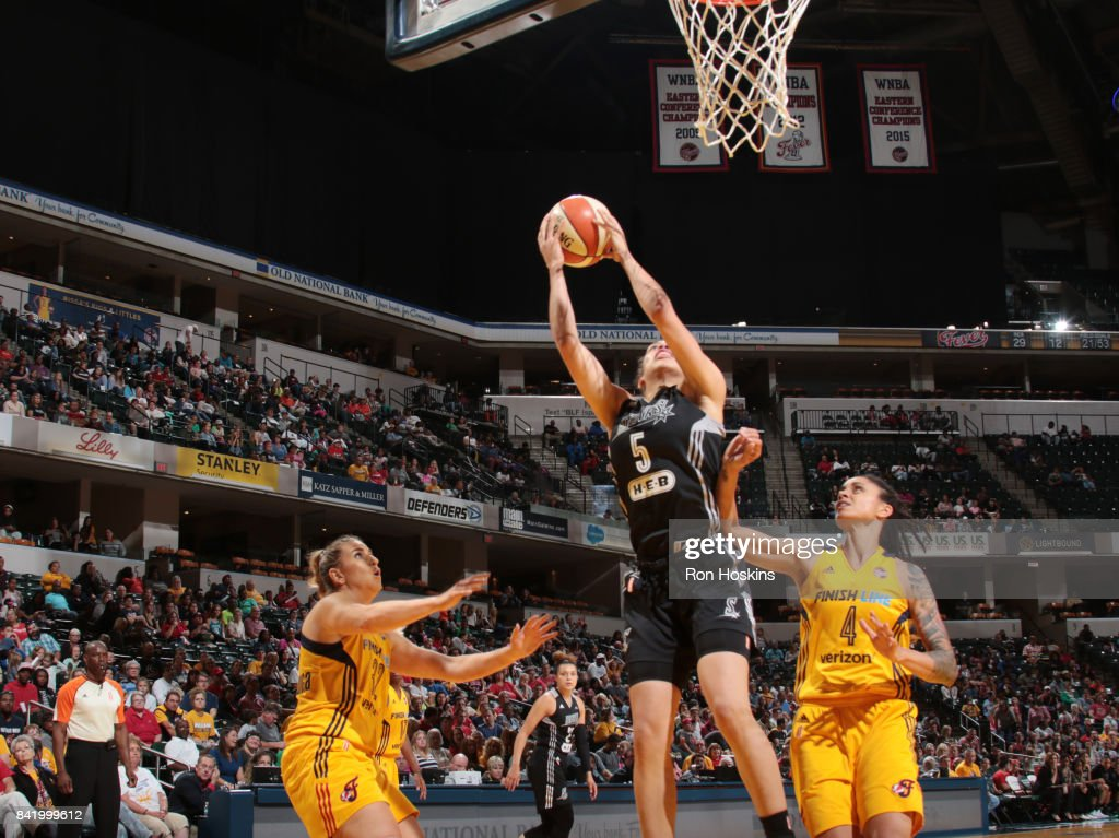 Dearica Hamby #5 of the San Antonio Stars shoots the ball against the Indiana Fever on September 2, 2017 at Bankers Life Fieldhouse in Indianapolis, Indiana.
