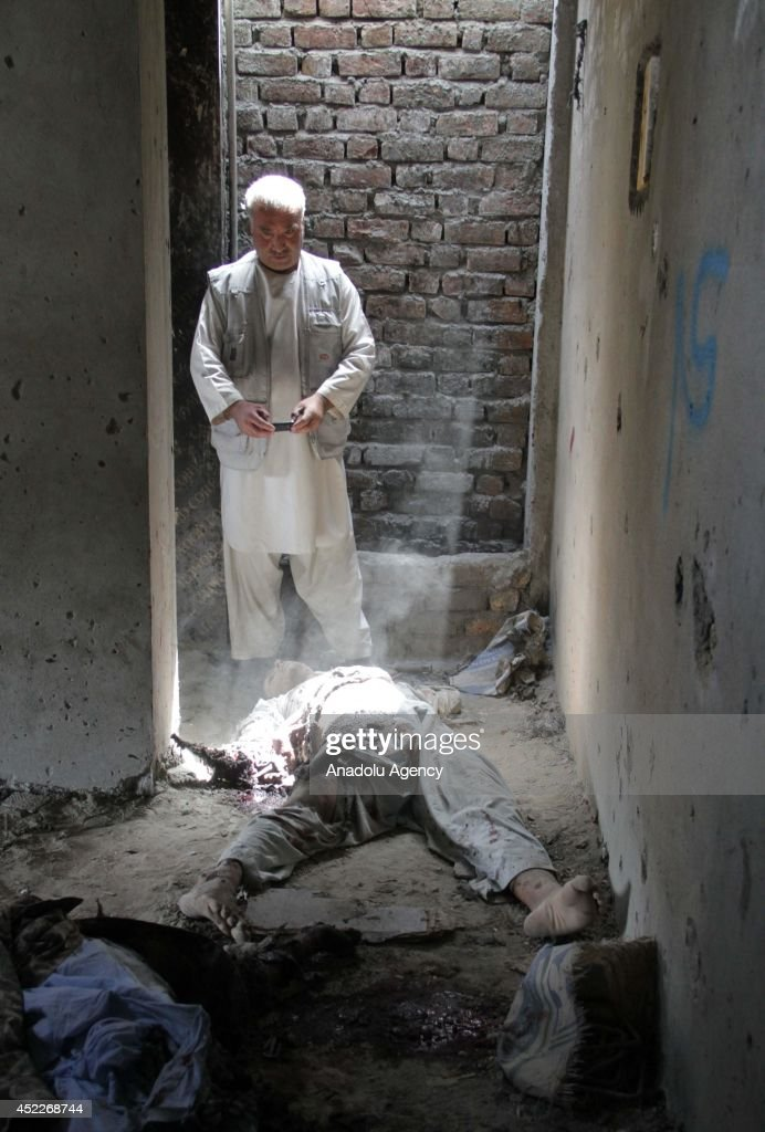Death bodies of 5 Taliban militants, staged an attack to Kabul International Airport, are seen after the 5-hour-length clash between Afghan security forces in Kabul, Afghanistan on July 17, 2014.