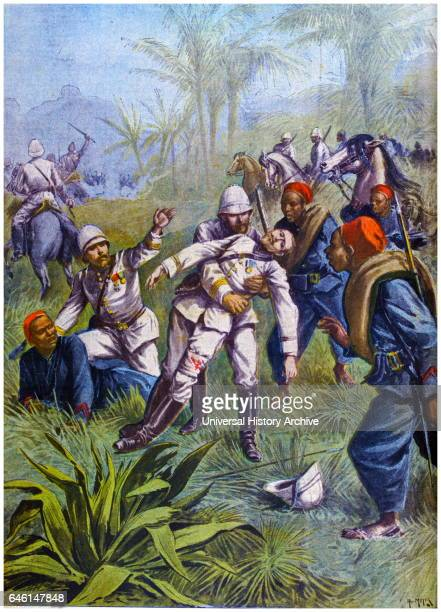 Death of Lieutenant Grivart Killed by inhabitants of a village on the banks of the River Niger Mort du Lieutenant Grivart Illustration for Le Petit...