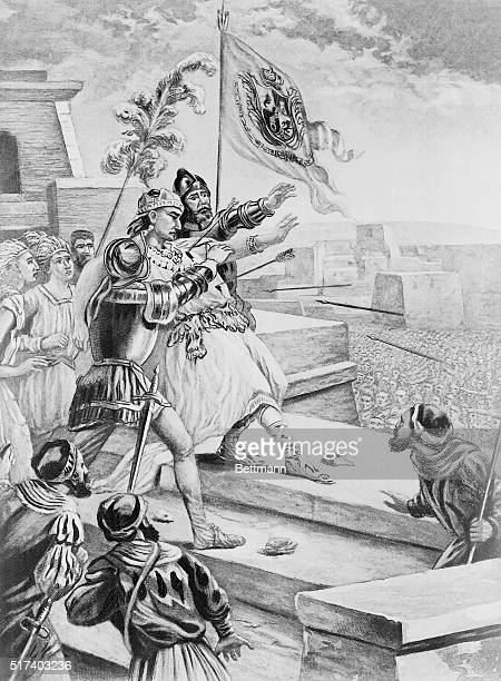 Death of Montezuma II at the hands of his subjects Painting by Philippoteaux
