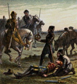 'Death Of Richard The Third' King Richard III dies at the Battle of Bosworth Field Colour plate from Pictures of English History George Routledge Sons