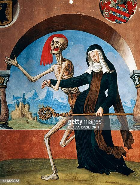Death of the Abbess detail of Death the monks and the Abbess watercolour from the Dance of Death cycle by Albrecht Kauw illustration by Niklaus...