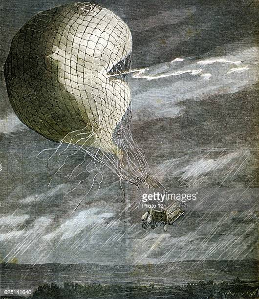 Death of the French aviators Godard and Panis when their balloon was struck by lightning over Chicago From 'Le Petit Journal' 15 July 1891