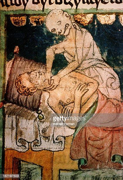 Death strangling a victim of the Black Death plague From the codex called the Clementinum Collection of tracts by Thomas of Stitny Czech Republic...
