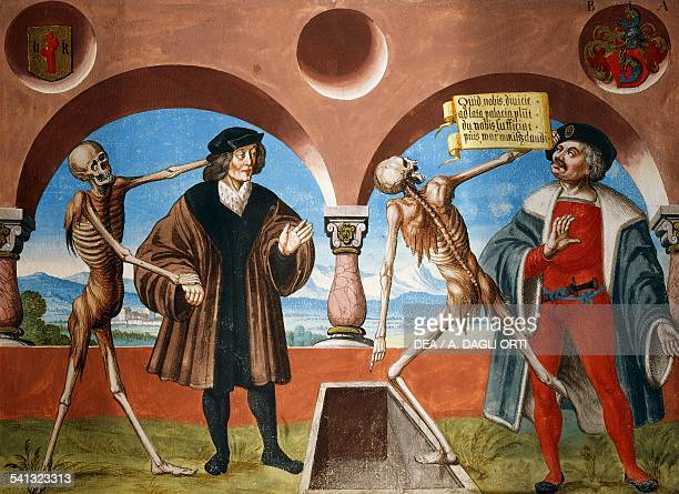 Death the Advisor and the Administrator watercolour from the Dance of Death cycle by Albrecht Kauw illustration by Niklaus Manuel in the cemetery of...