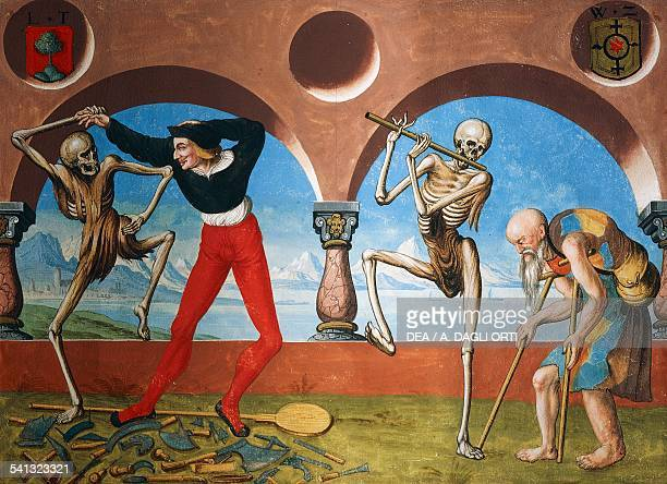 Death the Artisan and the beggar watercolour from the Dance of Death cycle by Albrecht Kauw illustration by Niklaus Manuel in the cemetery of the...