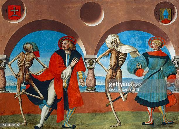 Death the bourgeois and the merchant watercolour from the Dance of Death cycle by Albrecht Kauw illustration by Niklaus Manuel in the cemetery of the...