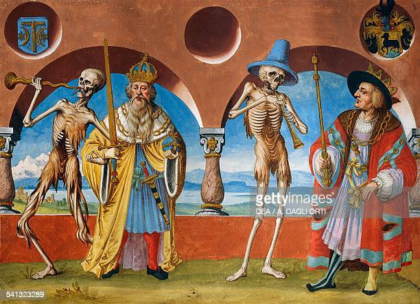 Death the Emperor and the King watercolour from the Dance of Death cycle by Albrecht Kauw illustration by Niklaus Manuel in the cemetery of the...