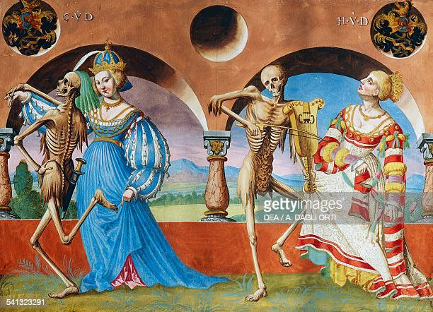 Death the Empress and the Queen watercolour from the Dance of Death cycle by Albrecht Kauw illustration by Niklaus Manuel in the cemetery of the...