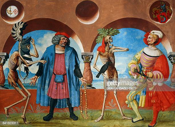 Death the head of government and the bourgeois of Bern watercolour from the Dance of Death cycle by Albrecht Kauw illustration by Niklaus Manuel in...