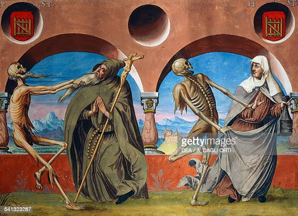 Death the hermit and the Beguine watercolour from the Dance of Death cycle by Albrecht Kauw illustration by Niklaus Manuel in the cemetery of the...