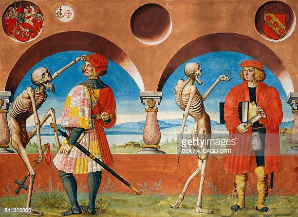Death the Knight and the Jurist watercolour from the Dance of Death cycle by Albrecht Kauw illustration by Niklaus Manuel in the cemetery of the...