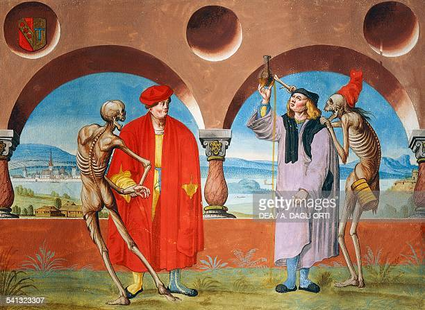 Death the Lawyer and the Doctor watercolour from the Dance of Death cycle by Albrecht Kauw illustration by Niklaus Manuel in the cemetery of the...