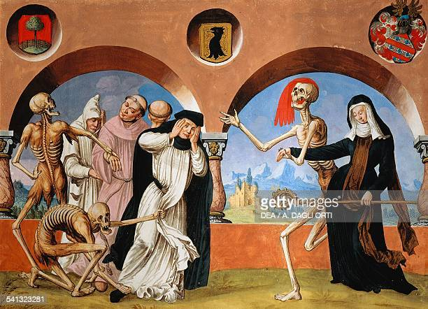 Death the monks and the Abbess watercolour from the Dance of Death cycle by Albrecht Kauw illustration by Niklaus Manuel in the cemetery of the...