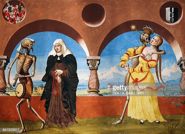 Death the widow and the young woman watercolour from the Dance of Death cycle by Albrecht Kauw illustration by Niklaus Manuel in the cemetery of the...