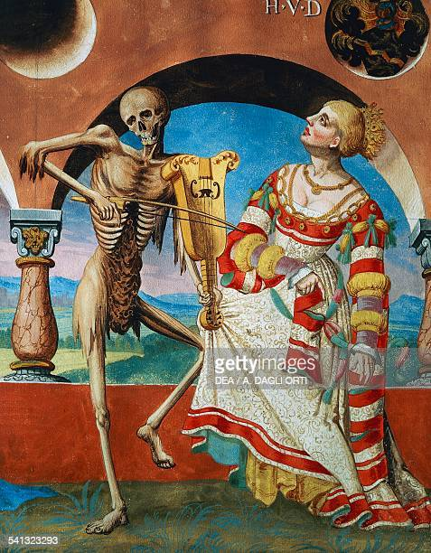 Death with the Queen detail of Death the Empress and the Queen watercolour from the Dance of Death cycle by Albrecht Kauw illustration by Niklaus...
