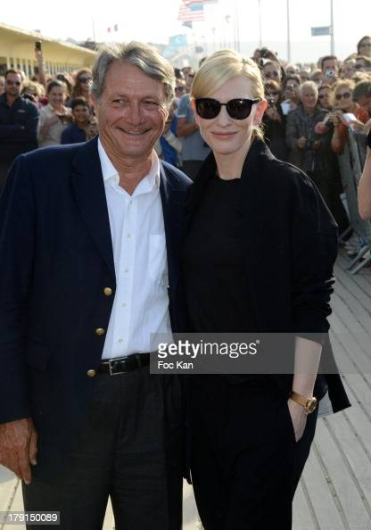 Deauville mayor Philippe Augier and Cate Blanchett attend the Cate Blanchett Photocall The 39th Deauville Film Festival at Les Planches CID on August...