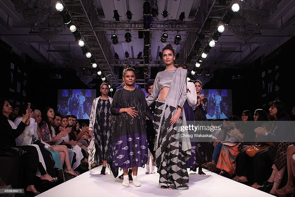 Debashri Samanta walks the runway during day 2 of Lakme Fashion Week Winter/Festive 2014 at The Palladium Hotel on August 21, 2014 in Mumbai, India.