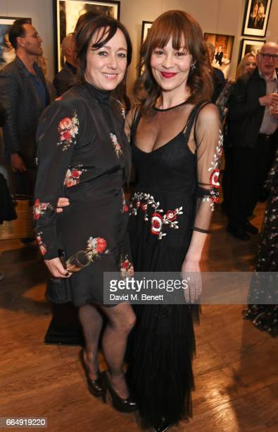 Debbi Clark and Helen McCrory attend the Sir Hubert Von Herkomer Arts Foundation 2017 annual exhibition and fundraiser at Alon Fine Arts Gallery on...