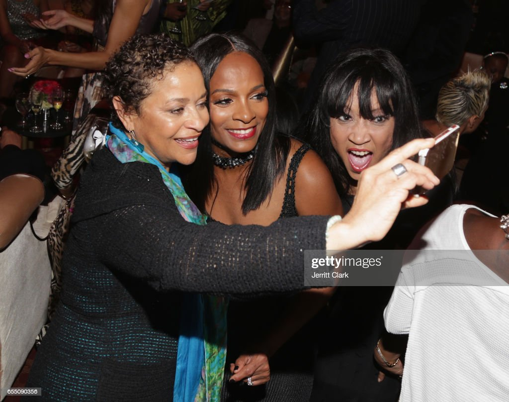 Debbi Morgan, Vanessa Bell Calloway and Jackee Harry attend Vanessa Bell Calloway's 60th Birthday Bash at Cicada on March 18, 2017 in Los Angeles, California.