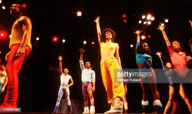 Debbie Allen and cast of Fame perform on stage Wembley London April 1983