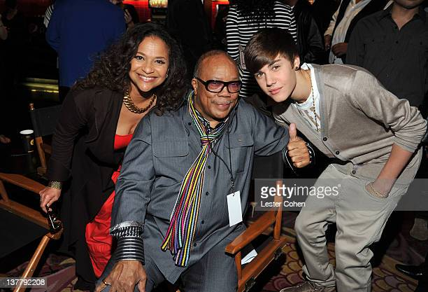 Debbie Allen Quincy Jones and Justin Bieber attend the immortalization of Michael Jackson at Grauman's Chinese Theatre Hand Footprint ceremony held...