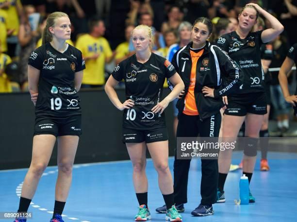 Debbie Bont of Copenhagen Handball Stine Knudsen of Copenhagen Handball and teammates looks dejected after the Primo Tours Ligaen 3 Final match...