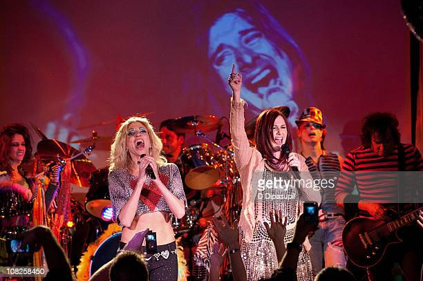 Debbie Gibson and recording artist Tiffany perform during the Back to the Eighties show at the Canal Room on January 22 2011 in New York City