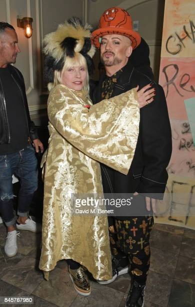 Debbie Harry and Boy George attend the Vin Omi Spring/ Summer 2018 show VIP party ahead of London Fashion Week September 2017 at Andaz London on...