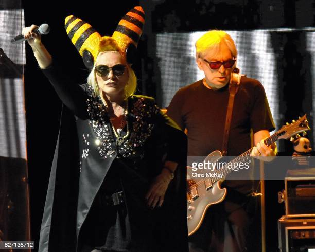 Debbie Harry and Chris Stein of Blondie perform at Chastain Park Amphitheater on August 6 2017 in Atlanta Georgia
