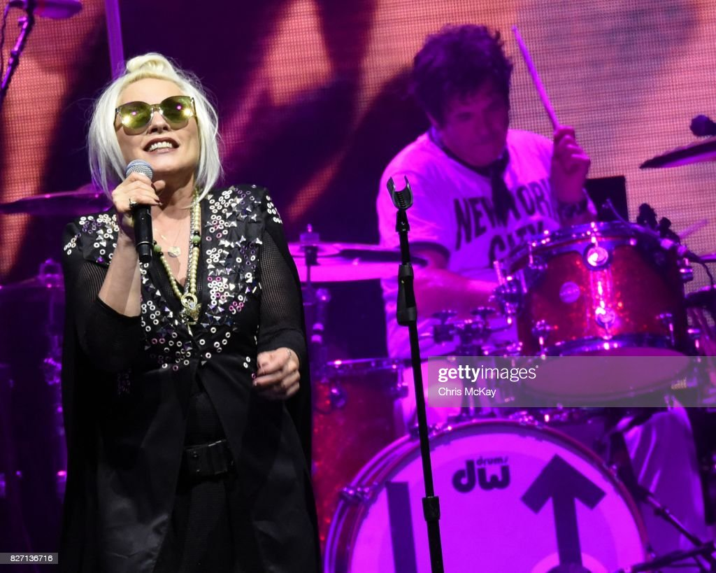 Debbie Harry and Clem Burke of Blondie perform at Chastain Park Amphitheater on August 6, 2017 in Atlanta, Georgia.