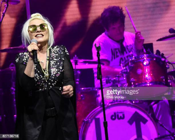 Debbie Harry and Clem Burke of Blondie perform at Chastain Park Amphitheater on August 6 2017 in Atlanta Georgia