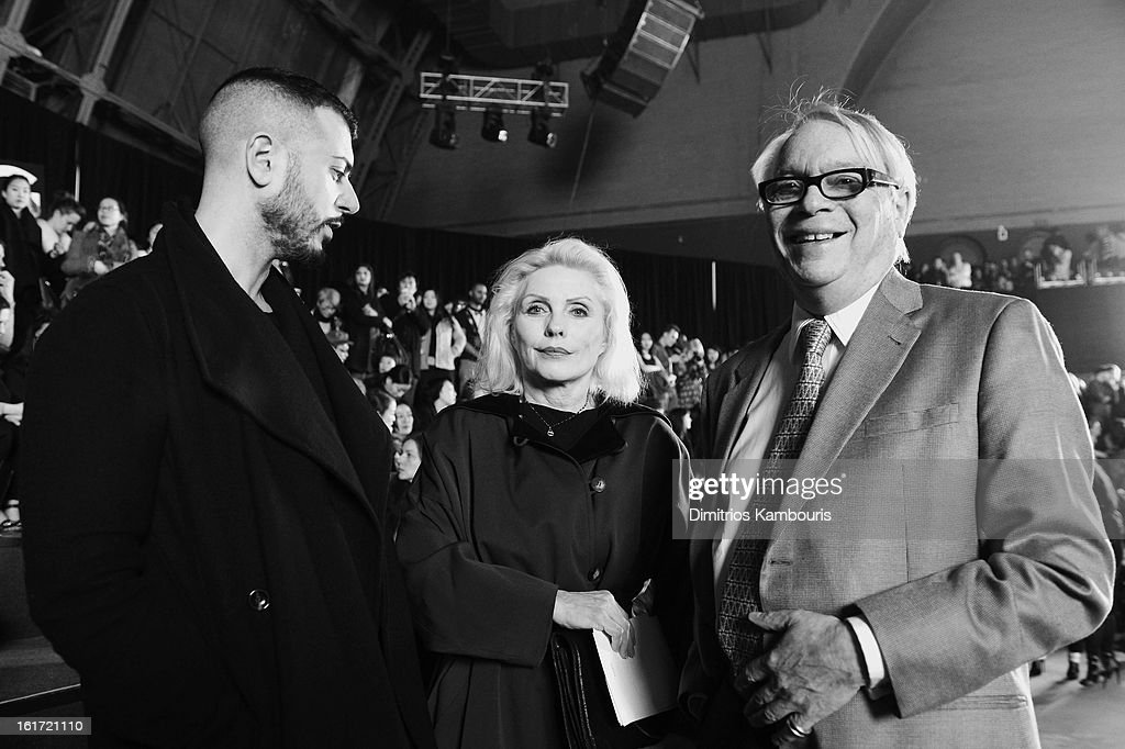 <a gi-track='captionPersonalityLinkClicked' href=/galleries/search?phrase=Debbie+Harry&family=editorial&specificpeople=209145 ng-click='$event.stopPropagation()'>Debbie Harry</a> (C) attends the Marc Jacobs Collection Fall 2013 fashion show during Mercedes-Benz Fashion Week at New York Armory on February 14, 2013 in New York City.