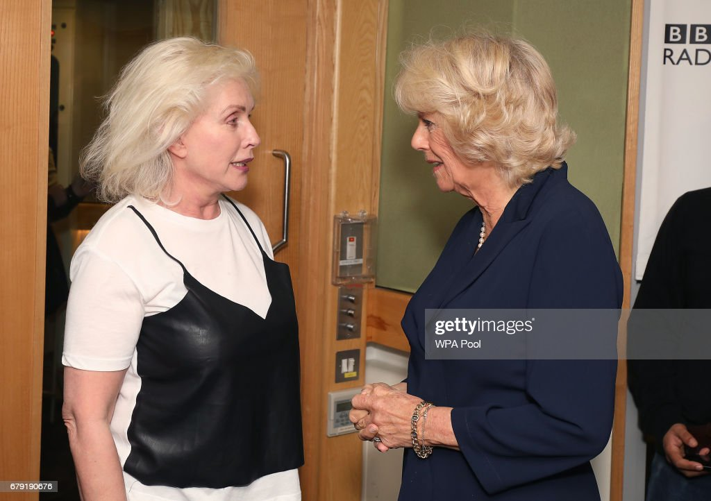 Debbie Harry from Blondie greets Camilla, Duchess of Cornwall as she joins the '500 Word' judging panel, a creative writing competition, at BBC Radio 2 Studios on May 4, 2017 in London, England.