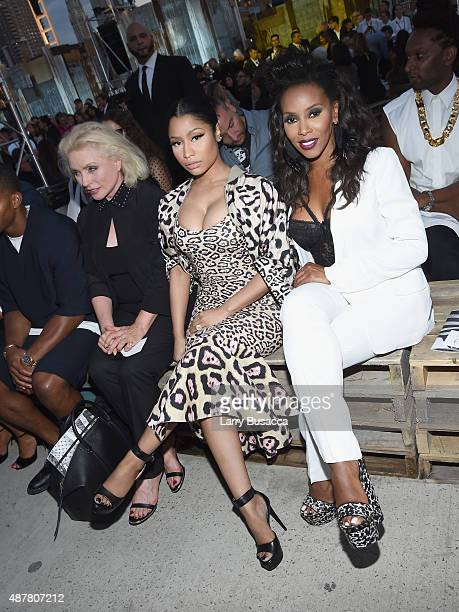 Debbie Harry Nicki Minaj and June Ambrose attend the Givenchy fashion show during Spring 2016 New York Fashion Week at Pier 26 at Hudson River Park...