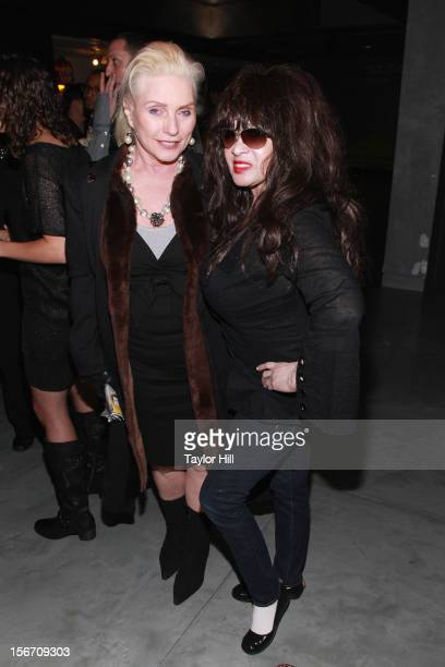 Debbie Harry of Blondie and Ronnie Spector of The Ronettes pose after the opening performance of 'Forever Dusty' at New World Stages on November 18...