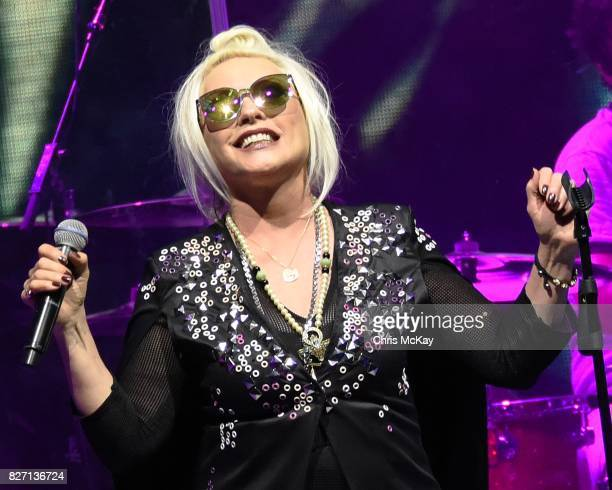 Debbie Harry of Blondie performs at Chastain Park Amphitheater on August 6 2017 in Atlanta Georgia