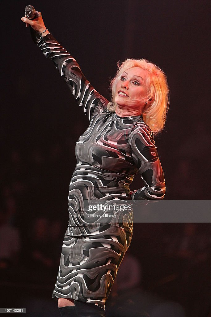 <a gi-track='captionPersonalityLinkClicked' href=/galleries/search?phrase=Debbie+Harry&family=editorial&specificpeople=209145 ng-click='$event.stopPropagation()'>Debbie Harry</a> of Blondie performs during the Amnesty International 'Bringing Human Rights Home' Concert at the Barclays Center on February 5, 2014 in the Brooklyn borough of New York City.