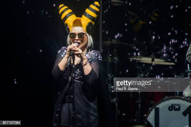 Debbie Harry of Blondie performs on stage at Chastain Park Amphitheater on August 6 2017 in Atlanta Georgia