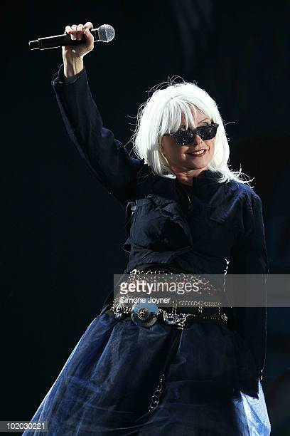 Debbie Harry of Blondie performs on the main stage during day two of the Isle of Wight Festival 2010 at Seaclose Park on June 12 2010 in Newport Isle...