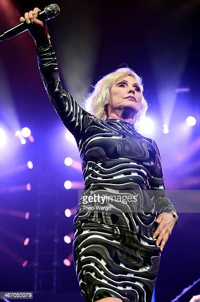 Debbie Harry of Blondie performs onstage at the Amnesty International Concert presented by the CBGB Festival at Barclays Center on February 5 2014 in...