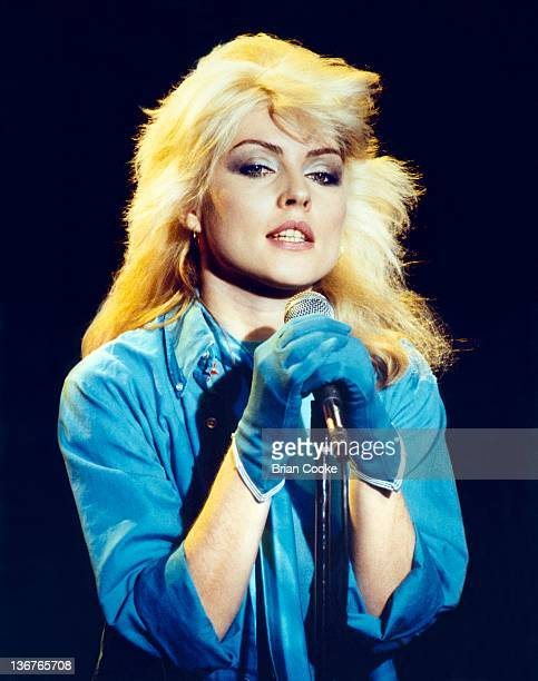 Debbie Harry of Blondie photographed at Blanford Studios in Marylebone London on 8th March 1978 during the making of a pop promo for their single...