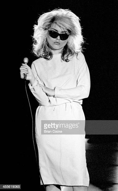 Debbie Harry of Blondie singing during the recording of a pop promo for their single 'Picture This' at Isleworth Studios Isleworth London on 21...