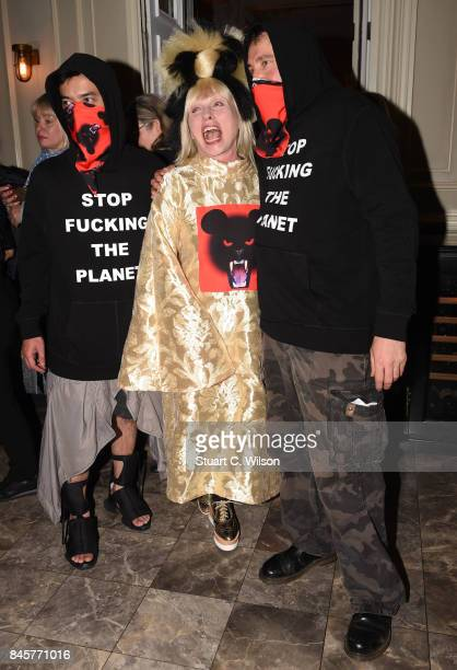 Debbie Harry poses backstage with Vin Omi after their Spring/ Summer 2018 collection ahead of London Fashion Week September 2017 at Andaz London on...