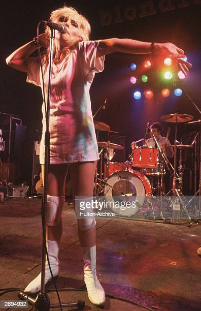 Debbie Harry the American model and lead singer of the new wave band Blondie on stage