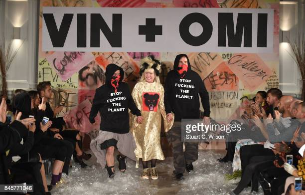 Debbie Harry walks the runway with Vin Omi after their Spring/ Summer 2018 collection ahead of London Fashion Week September 2017 at Andaz London on...