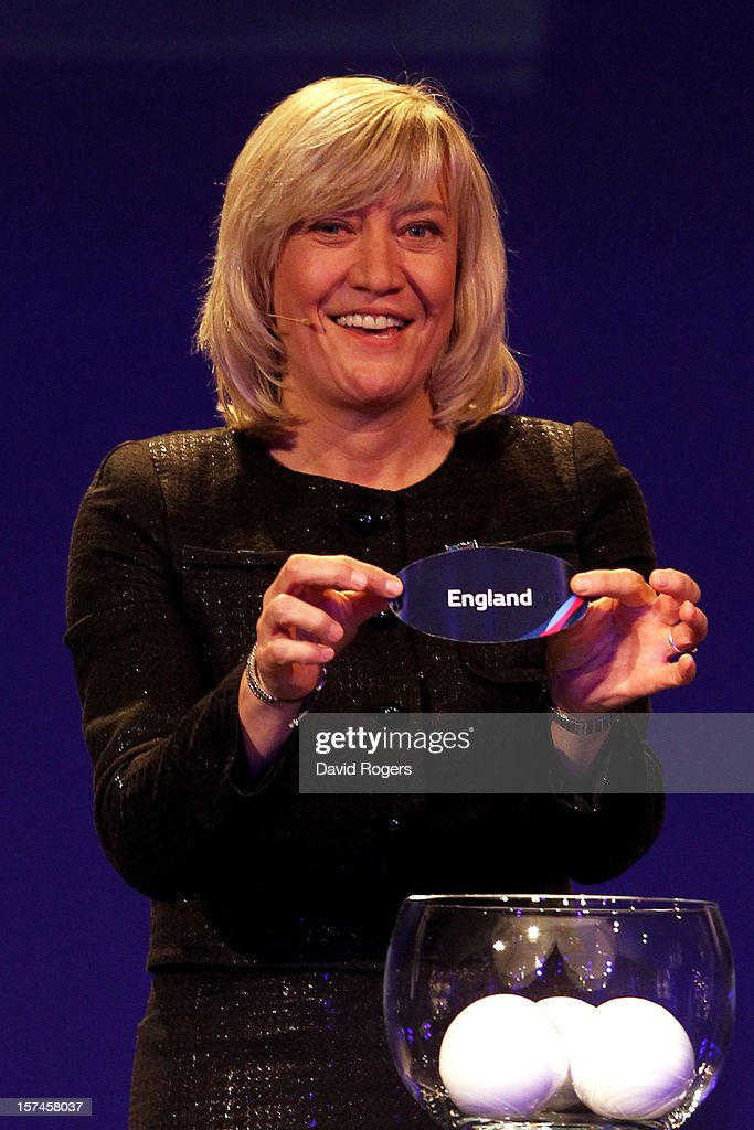 Debbie Jevans CEO of England Rugby 2015 draws England during the IRB Rugby World Cup 2015 pool allocation draw at the Tate Modern on December 3, 2012 in London, England.